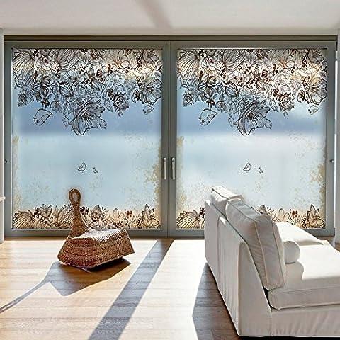 Die Fenster aus Glas, Aufkleber Papier Schiebefenster mit dem Schlafzimmer Wohnzimmer Balkon Garten Dekoration warme frische kleine Fenster Papier, 60 x 90 cm.