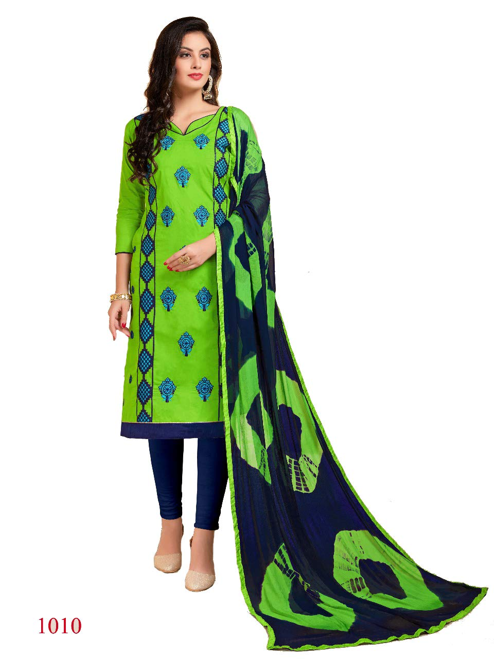 b76dc135b9 Shree Ganesh Retail Womens Lone Cotton With Embroidery Churidar Material |  Salwar Suit | Salwar Kameez Unstitched Dress Material (GREEN & BLUE 1010)