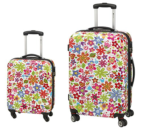 2-teiliges Trolley-Koffer-Set Reisekoffer Hartschale FLOWER Bunt