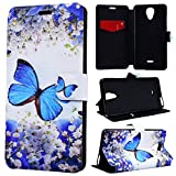 SmartLegend Coque Étui en Cuir Portefeuille pour Wiko U Feel Lite, Coque Wiko Ufeel Lite avec Arting Motif Antichoc, Blue Butterfly Design Folio Slim-Book Flip Wallet Case Function Stand Card Slot Pochette à Rabat Magnétique Fente Carte Encastrée pour Wiko U Feel Lite Anti Fine