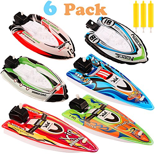 VAMEI Toy Boat Pool Toy 6pcs Gonfiabile Wind Up Speedboat Toy Cochain Speed Boat Giocattolo per Yacht in Vasca da Bagno Bagno Piscina Outdoor Water Toy per Ragazzi Ragazze Kids Toddlers (B)