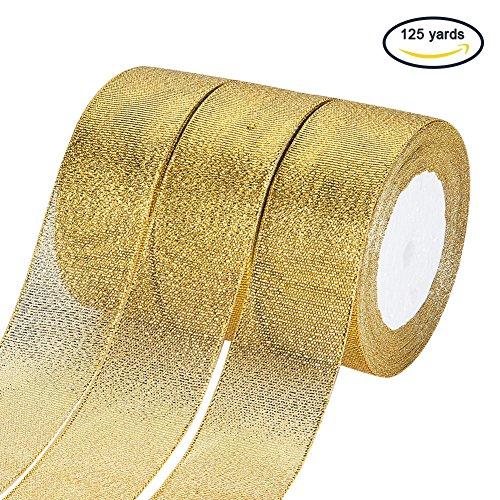 (5 Rollen X 25 yd) 1-1 / 2-Zoll breit Premium Glitter Metallic Schleifenband Dekoband Geschenkband Zierband f¨¹r Hochzeit, Urlaub, Dekoration, Geschenkpapier (Gold) (Weihnachten Dekorationen Großhandel)
