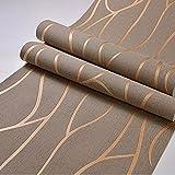 KANG@ Tapete 3D Wallpaper Roll modernen minimalistischen Abstrakte Kurven Glitter Non-woven Beflockung gestreifte Tapeten für Schlafzimmer Wohnzimmer TV-Kulisse geometrische Kurve Streifen, Braun, nur das Hintergrundbild