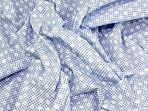Daisy & Imprimé Vichy Polycoton robe en tissu–Bleu–par mètre + sans Minerva Crafts Craft Guide
