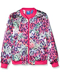 Adidas S fille rose satin veste, multicolore/Blanc, 140