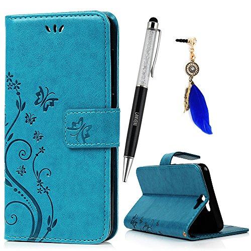 Lanveni Lederhülle Leder Tasche für HTC One A9 (12,7 cm (5 Zoll) Hülle Blau Muster Geprägte designs Design Case Cover Bookstyle Brieftasche Card Slot Handy Schutzhülle Back Cover + 1 x Stylus Pen + 1 x Staubdichte Stecker