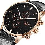 Uhren für Männer Schwarzes Leder Uhr Analoger Quarz Chronograph Wasserdicht Business Fashion große Wählscheibe Multifunktionale männliche Uhr