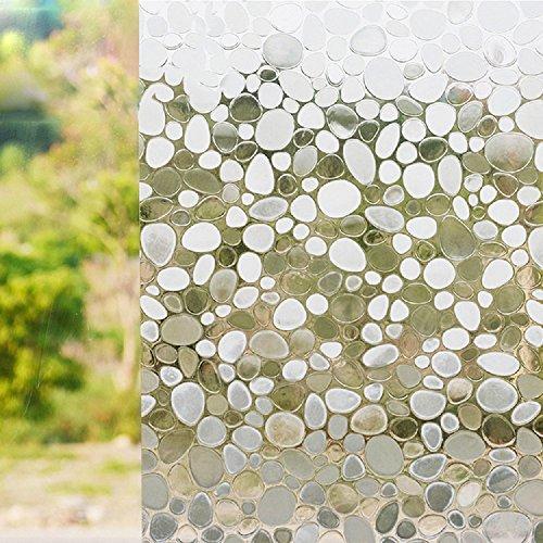 Zanbringe 17.7x78.7 Zoll(45x200CM) nichtklebenden Kieselsteine statische Privatsphäre Fenster Klarsichtfolie