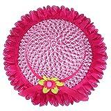 YOPINDO Straw Hat Kids Girls Hat Purse Set Straw Sun Hat Floppy Summer Beach Cap with Hand Bag (9213 Hot Pink)
