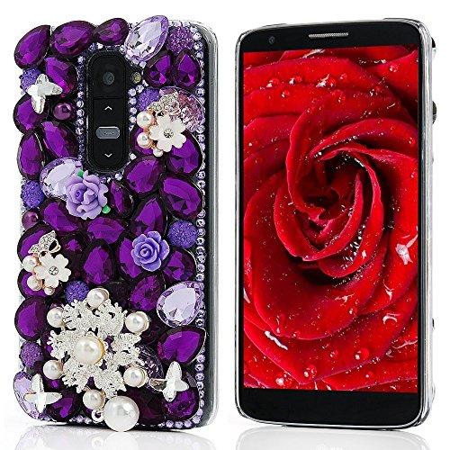Evtech (tm) 3D lila Kristall Schmetterling Blumen Perlen Bling Rhinestone-Diamant-Raum-Kasten for [LG Optimus G3] (100% Handarbeit) (Lg Muscheln)