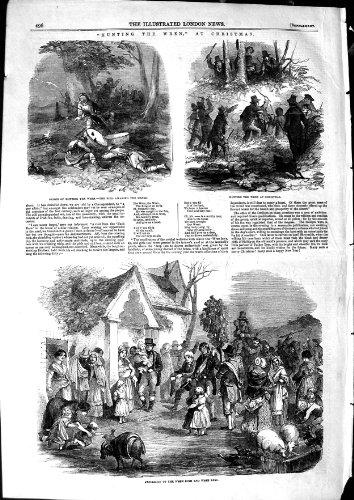 1850 stampe cercare dell'oggetto d'antiquariato di sport di natale dello scricciolo