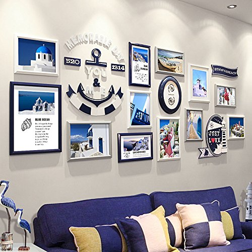 HJKY Bilderrahmen Wand Foto wand Dekoration Mediterrane modernen minimalistischen Rahmens Wand kreative Kombination von Wohnzimmer Hintergrund continental Wand Foto an der Wand, Dunkel Blau + weiß + grau