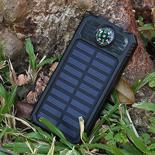 Preisvergleich Produktbild Gladle Tragbares Solar-Ladegerät Dual USB Port Mit 2 LED-Licht und Kompass Ohne Batterien, balck