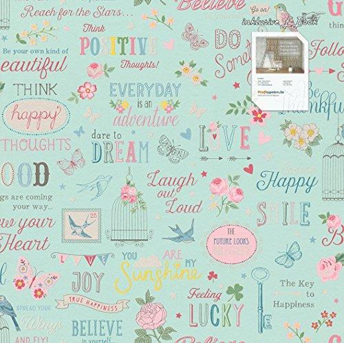 Tapete 216714 Kollektion Kids & Teens II inklusive E-Book und Kleister, jugendliche Tapeten, Muster & Motive, Türkis, Blau, Pink, Gelb, Rosa, Weiß, Rasch (Türkis Gelb)