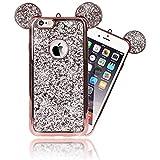NALIA Handyhülle für iPhone 6 6S, Glitzer Slim Back-Cover Case mit Maus Ohren Glitter Silikonhülle Schutz-Hülle Dünnes Strass Bling Etui Handy-Tasche Bumper für Apple iPhone 6S 6, Farbe:Rose Gold