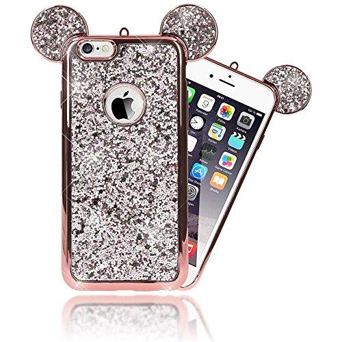 iPhone 6 6S Hülle Handyhülle von NALIA, Glitzer Slim Back-Cover Case mit Maus Ohren Glitter Silikonhülle Schutzhülle Dünnes Strass Bling Etui Handy-Tasche Bumper für Apple iPhone 6S 6, Farbe:Rose Gold