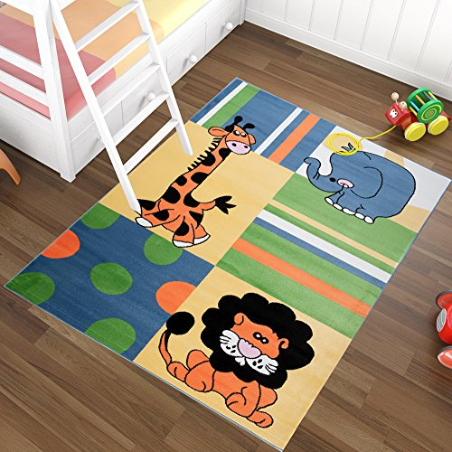 Alfombra Infantil Moderna – Color Azúl Diseño Animales Salvajes – Suave – Fácil De Limpiar – Mejor Calidad – Diferentes Dimensiones S-XXXL 80 x 150 cm