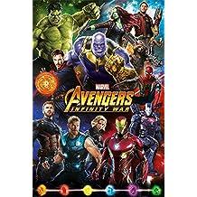Los Vengadores: infinity Guerra Póster (tamaño grande), diseño de personajes, papel, multicolor, 91,5x 61x 0,03cm