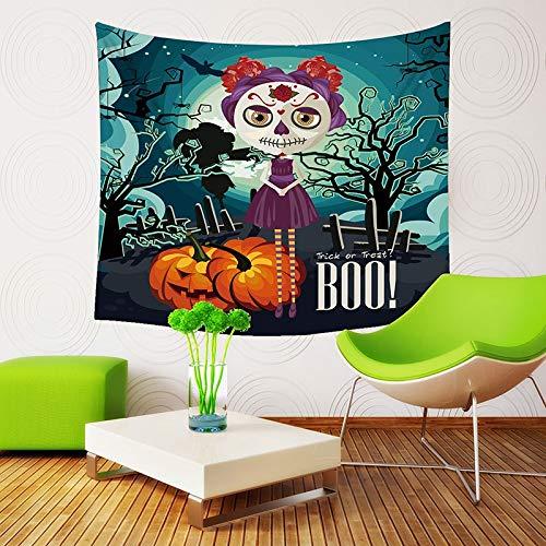 (Qishi Halloween Szenerie Reinigungstuch Tagesdecke Tischdecke Schals Digital Print Kürbis Hexe Ghost Innen Wand aufhängen Hintergrund Dekoratives Gemälde 150× 130cm, A)