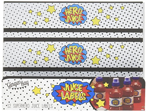 Ginger Ray Held Saft Partei Superheld Saft Flasche Etiketten x 12 - Comic Superhelden (E-saft-flasche Etiketten)