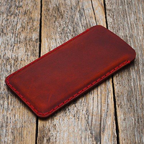 Étui Rouge pour iPhone 8, 7, 6/6s en Cuir Véritable. Coque Housse Etui Case Cover Pochette