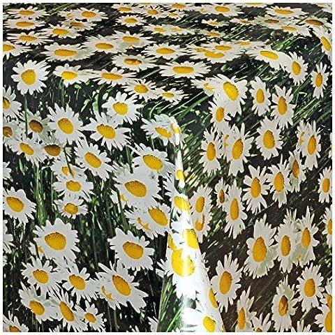 Motivo floreale verde tovaglia in PVC pulire Oilcloth- 140cm di larghezza di taglio per prezzo al metro (100x 140cm)