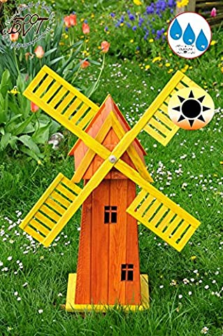 Beautiful Classical Baby Classic Windmill In Many Colours, Wood Garden Windmill 100cm ECK100GE–MS with Balcony Trim Windows Fully Functional Yellow, Beautiful Details, Garden Cross Decorative Outdoor, Wind Vane/Wind Wheel Complete With Solar Lighting, Dual Type Solar Light 1m Light Brown Glazed Finish Blades–Orange Yellow Upper Body for Indoors and Outdoors, Made from High Quality Beautiful Garden