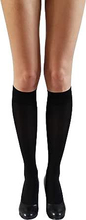 Annes, gambaletti velati in microfibra ad altezza ginocchio, 40 denari, confezione da 2 paia