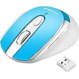 LeadsaiL Ratón Inalámbrico, Wireless Mouse Silencioso Ratón óptico Click Mini, Ergonómica Ultra Delgado, 2.4G Mouse Inalámbri