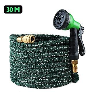 100ft Expandable Flexible Garden Hose, Koyoso 30m Magic Water Hosepipe Solid Brass Hose Fittings & Spray Gun