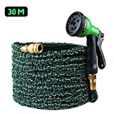 100ft Expandable Flexible Garden Hose, Koyoso 30m Magic Water Hosepipe Solid Brass Hose