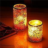 Samoleus Set di 2 Candele a LED Batteria Glass Mosaico, Mood Candle con Telecomando e Timer, Tealight Candele Senza Fiamma (Glass Mosaico)