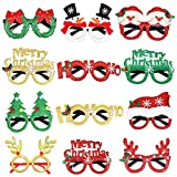 Achort 12 Stili di Natale Montature per Occhiali Scintillio per Occhiali per Feste Natalizie per Costumi di Natale Articoli per Feste creativi per Bambini, Donne, Uomini