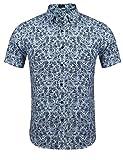 Burlady Herren Blumen Hemd Freizeit Regular Fit Hawaii-Print Kurzarm aus Baumwolle