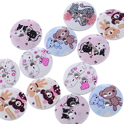 ZALAGO 100 Mezclados Botones Redondos de Madera con Animales 2 Ojales 15mm Dia