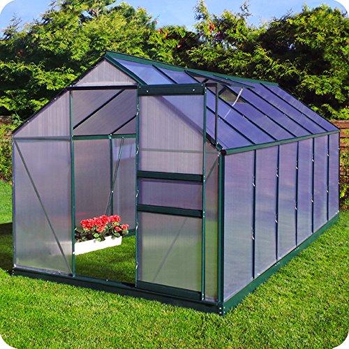 Aluminium Gewächshaus mit Fundament verschiedene Modelle Treibhaus Garten Pflanzenhaus Alu Tomatenhaus (190x370, Grün)