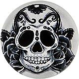 Morella Unisex Glas Click-Button Druckknopf Totenkopf Art Motiv schwarz weiß