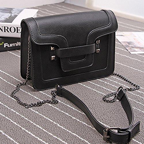 Damen Umhängetaschen Handtasche Frauen Vintage PU Leder Crossbody Tasche Schulterbeutel Braun Schwarz