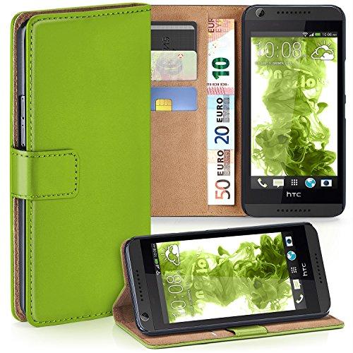 moex HTC Desire 626G | Hülle Grün mit Karten-Fach 360° Book Klapp-Hülle Handytasche Kunst-Leder Handyhülle für HTC Desire 626G/626 Case Flip Cover Schutzhülle Tasche