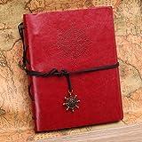 MOHOO DIY Retro Album Fotoalbum Scrapbook Album, , Vintage Leder Fotobuch Schwarze Seiten , für Hochzeit Geburtstagsgeschenk Geschenk Rot