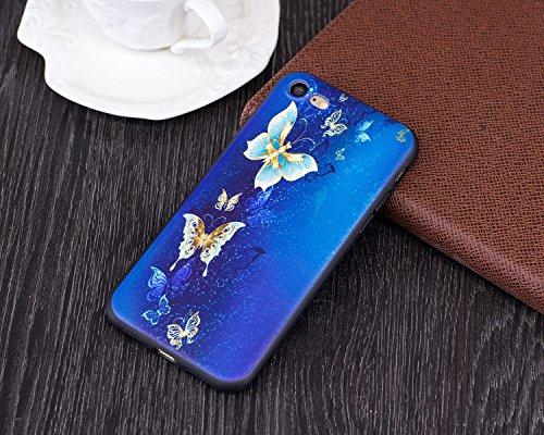 iPhone 7 Custodia, Cover iPhone 7, JAWSEU iPhone 7 4.7 Protectiva Bumper Bella Ultra Sottile 3D Sollievo Modello Silicone Custodia Cover Protezione Antiurto Liscio Flessibile Gomma Gel TPU Morbida Sil Farfalle