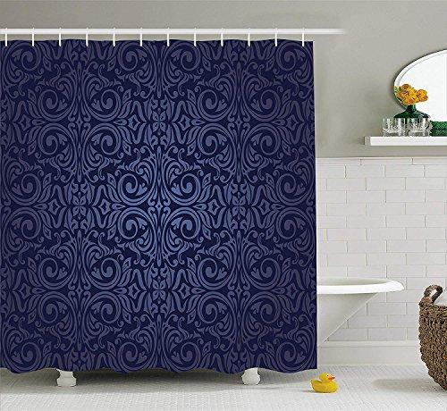 Royal Blue Swirl (KRISTI MCCARTNEY Indigo Shower Curtain, Victorian Vintage Ancient Royal Times Inspired Floral Leaves Swirls Image Artprint, Fabric Bathroom Decor Set with Hooks, 75 inches Long, Dark Blue)