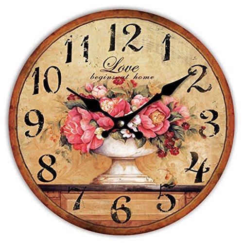 Time Love Begins at Home Wall Clock, Multi, 36 Cm Diameter