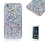 For Huawei P8 Lite(2017 Model) Case Cover [with Free Screen Protector], Funyye Fashionable Lovely and Sparkly Designer Shockproof Shock Absorber Soft Rubber Gel TPU Protective Case Cover Skin Shell for Huawei P8 Lite(2017 Model)- Silver
