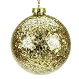 Glass Christmas Tree Bauble with Gold Confetti (10cm)