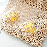 LF-Water Toys Bamboo and Rattan Straw Weaving Pointed Mexican Style Portable Diagonal Folding Beach Bag 35 * 50Cm,Yellow