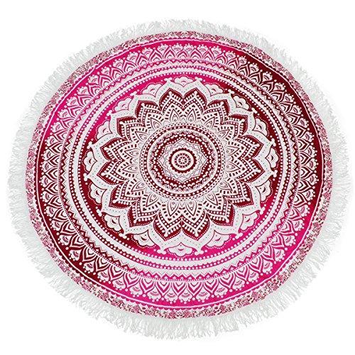 KING DO WAY Mandala Runde Farbverlauf Strandtuch multifunktional und umfassend Pool-Party Wand-Dekor Strand-Wurf Tischdecke Rosa