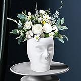 Pots de Fleurs de Tête, QLFJ-FurDec Pot de Plantes en Résine de Visage Blanc, Pot de Plantes de Cactus Succulentes pour la Dé