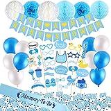 VEYLIN Vylin 52 Teile Baby Shower Dekorationsset – Es ist EIN Junge Banner, Blaue Mumie zu Sein, Schärpe, Baby-Foto-Booth Requisiten, Seidenpapier Pompons Blumen und Luftballons (blau)