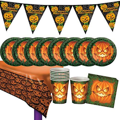Set Halloween für 8 Personen 28 Teile Kürbis Geschirr Mottoparty ()